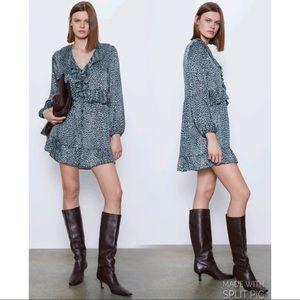 NWT Zara Animal Print Mini Dress Black Blue